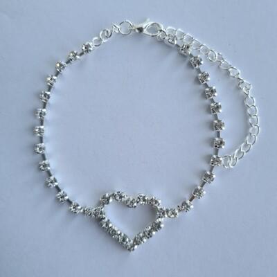Open hart met strass steentjes enkelbandje zilver