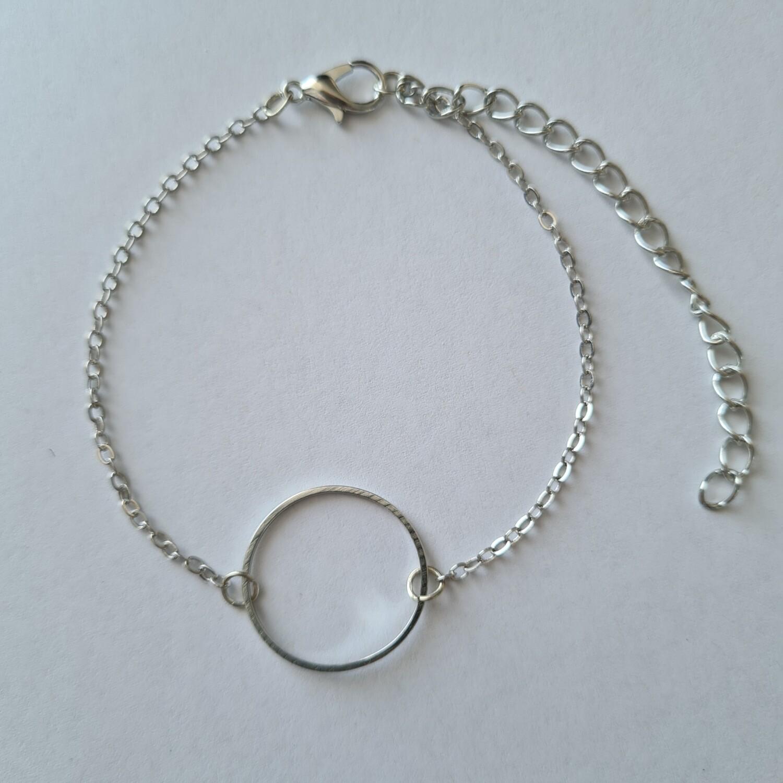 Open cirkel armband zilver