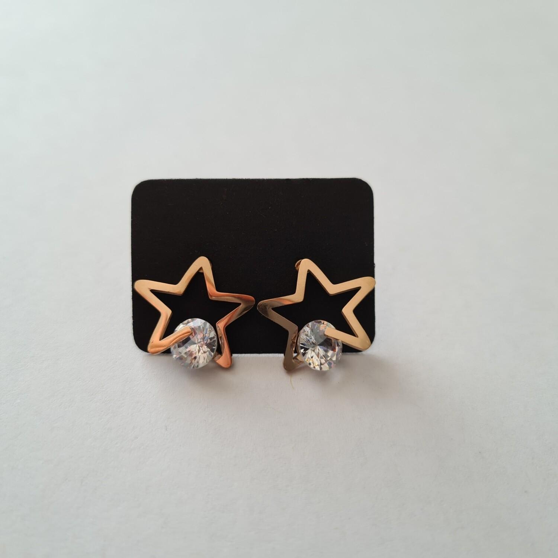 Dubbele ster met strass steentje rose goud stainless steel