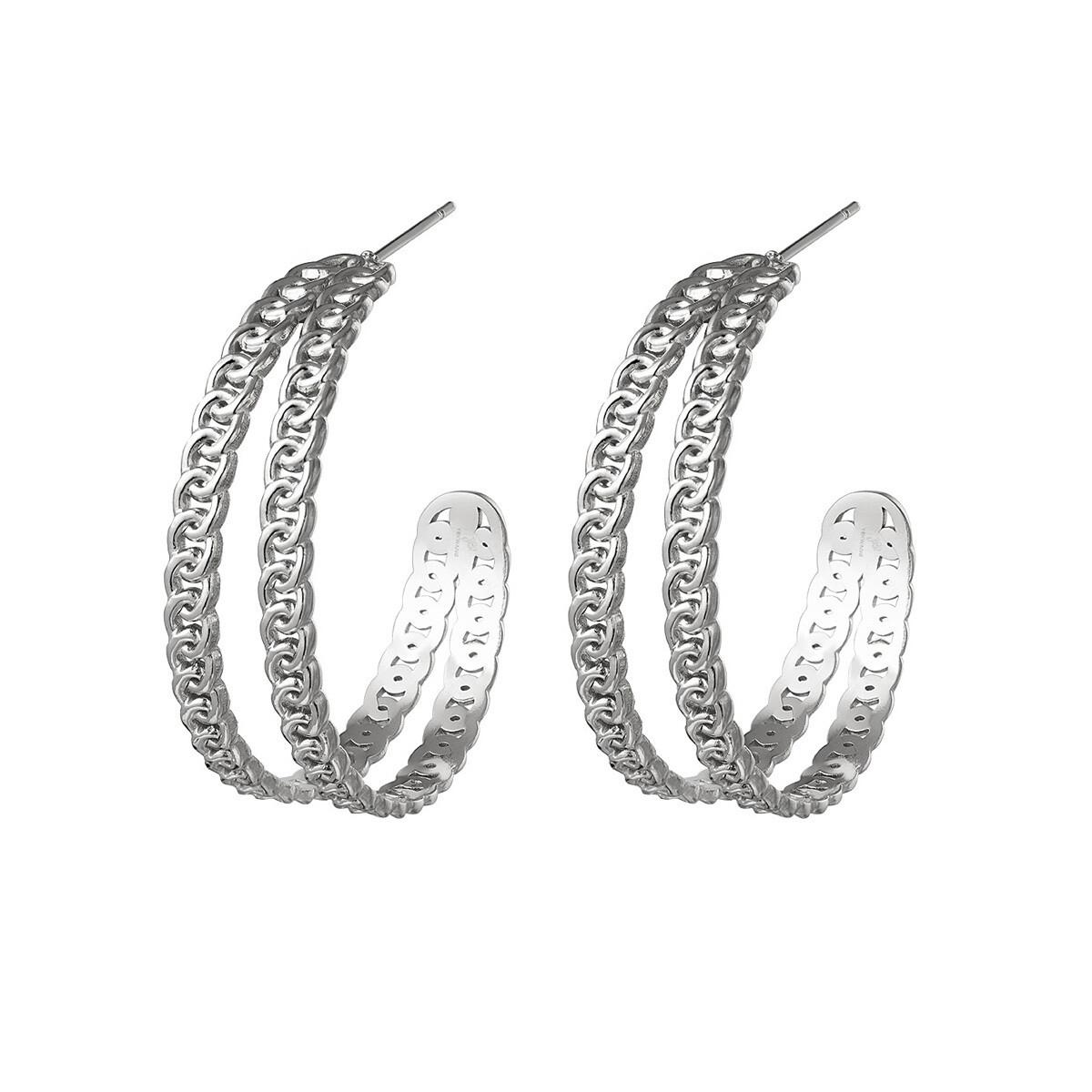 Knoopjes oorringetjes zilver 28 mm stainless steel