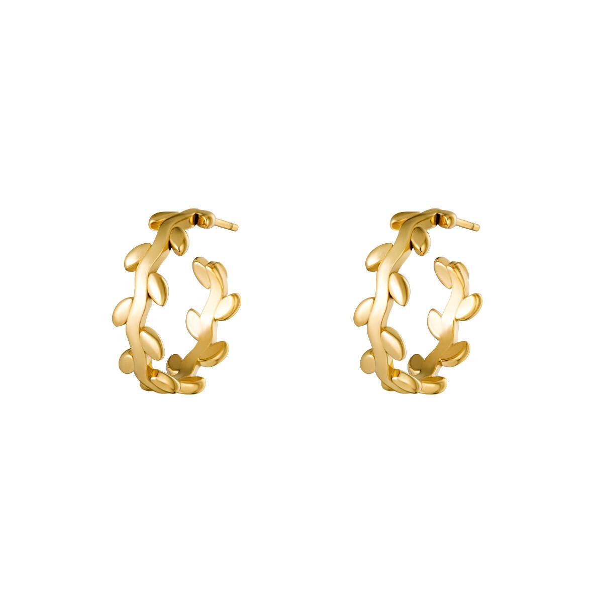 Krans oorringetjes goud 15 mm stainless steel