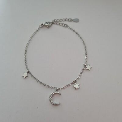 Maan en sterren armband zilver