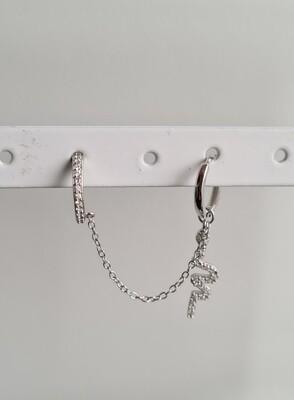Snake oorbel met kettinkje 925 sterling zilver. Per stuk