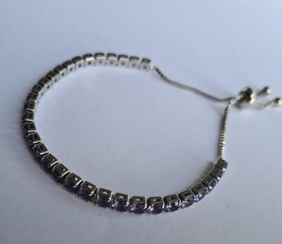 Mini strass steentjes armbandje zilver/lila