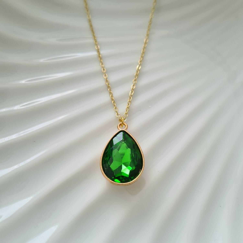 Gekleurde druppel ketting groen/goud