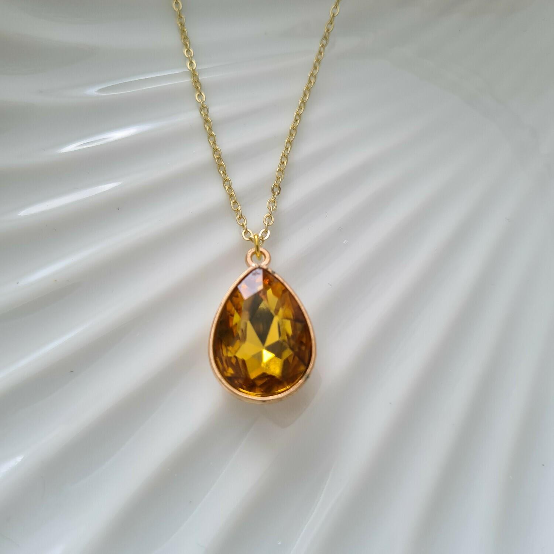 Gekleurde druppel ketting geel/goud