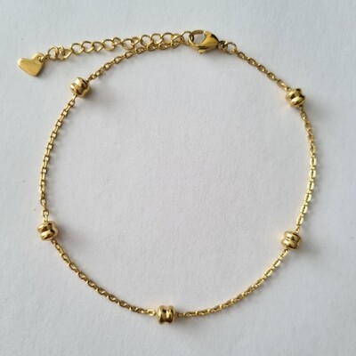 Double beads enkelbandje goud/stainless steel