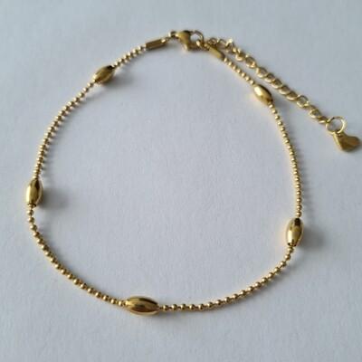 Oval beads enkelbandje goud/stainless steel