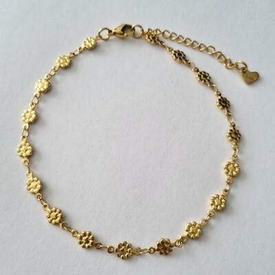Flower enkelbandje goud/stainless steel