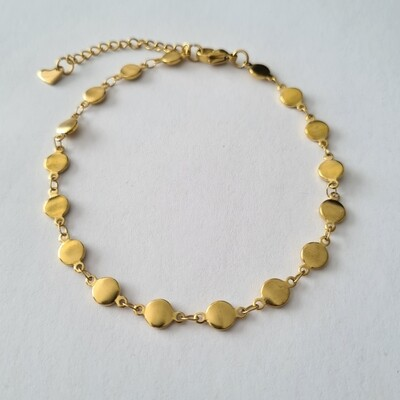 Smooth beads enkelbandje goud/stainless steel