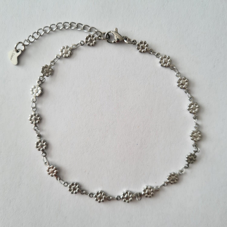 Flower enkelbandje zilver/stainless steel