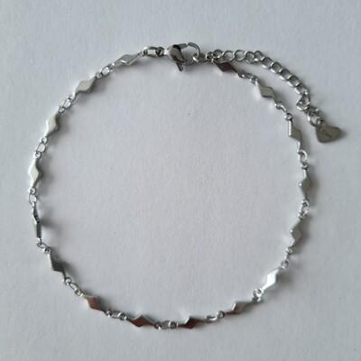 Bliksem enkelbandje zilver/stainless steel
