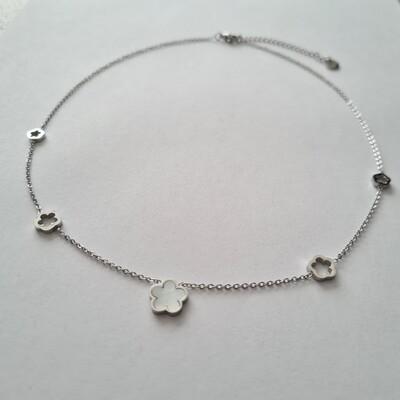 Bloemen ketting zilver/stainless steel