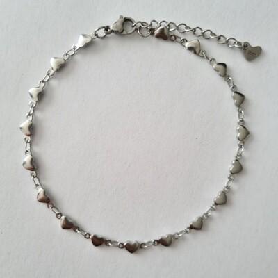Hartjes enkelbandje zilver/stainless steel