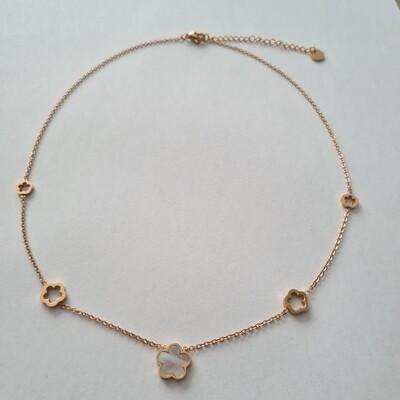 Bloemen ketting rosé goud/stainless steel