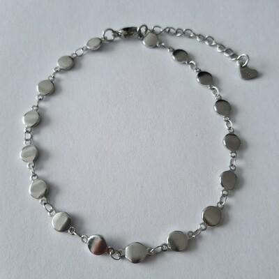Smooth beads enkelbandje zilver/stainless steel