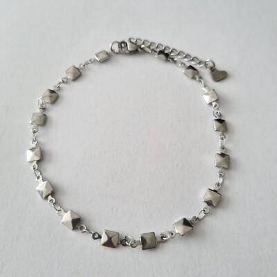 Square enkelbandje zilver/stainless steel