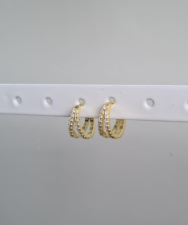 Twin oorbellen goud/925 sterling zilver