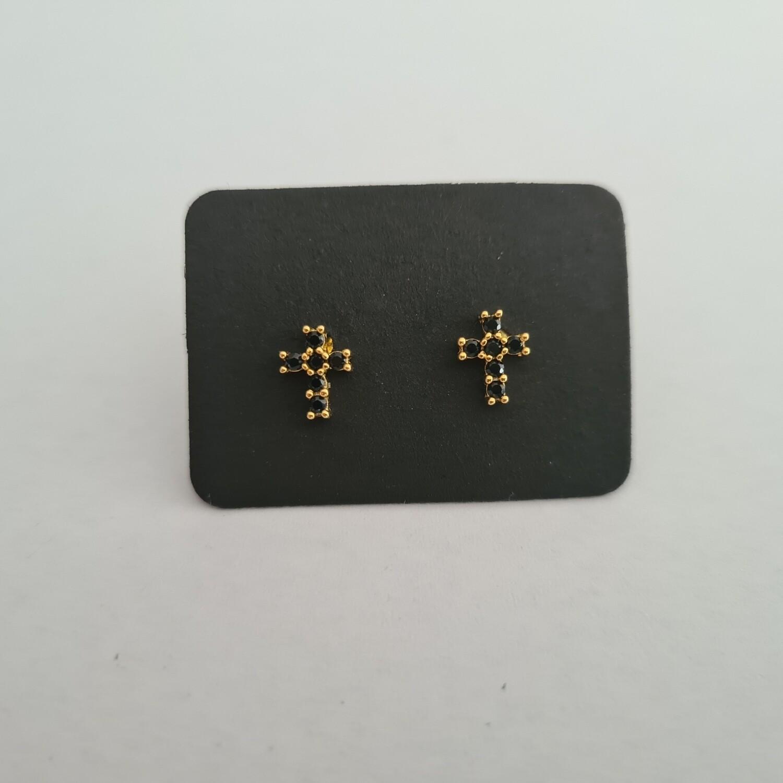 Cross oorknopjes met zwarte steentjes goud/925 sterling zilver