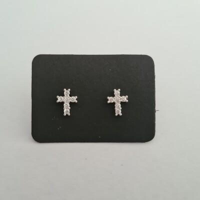 Cross oorknopjes met diamant steentjes 925 sterling zilver