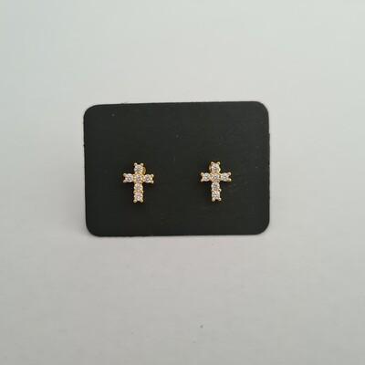 Cross oorknopjes met diamant steentjes goud/925 sterling zilver