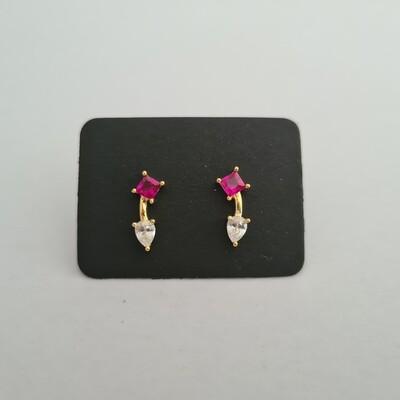 Gebogen staafje oorknopjes met rood en diamant steentje goud/925 sterling zilver