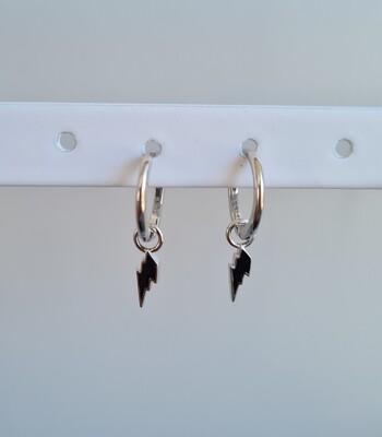 Lightning met zwart steentje oorbellen 925 sterling zilver