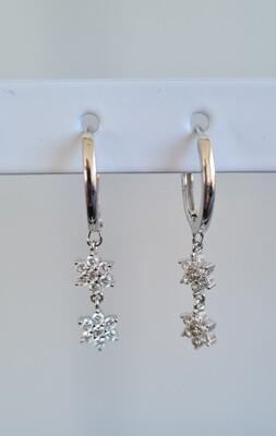 Shiny dubbele sterren oorbellen 925 sterling zilver