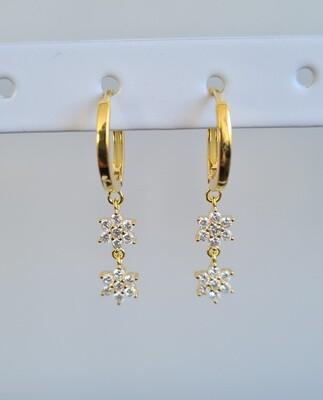 Shiny dubbele sterren oorbellen goud/925 sterling zilver