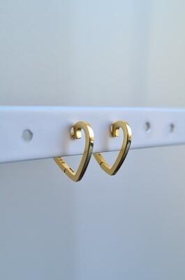 Smooth heart oorringetjes goud/925 sterling zilver