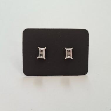 Rechthoek oorknopjes met diamant steentje 925 sterling zilver