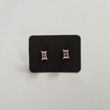 Rechthoek oorknopjes met diamant steentje goud/925 sterling zilver