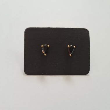 Druppel oorknopjes met zwart steentje goud/925 sterling zilver