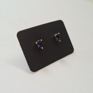Druppel oorknopjes met blauw steentje goud/925 sterling zilver