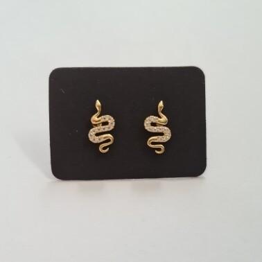 Snake oorknopjes met diamante steentjes goud/925 sterling zilver