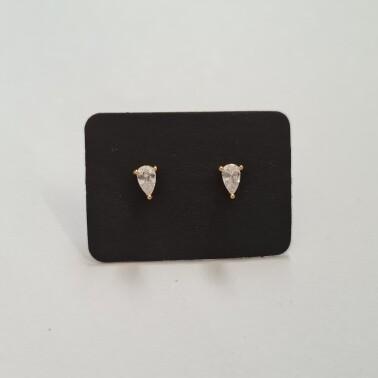 Druppel oorknopjes met diamant steentje goud/925 sterling zilver