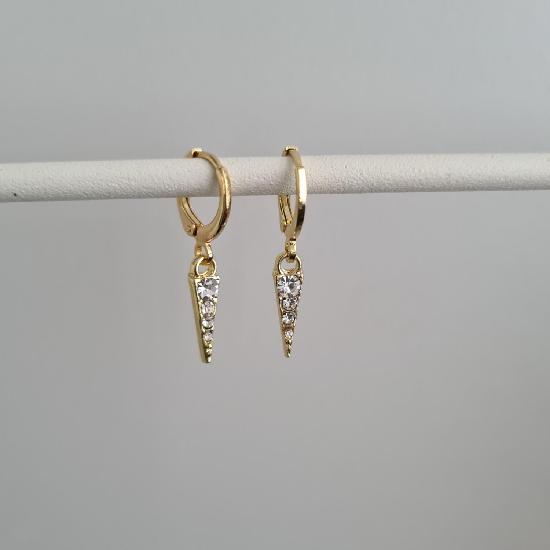 Shiny long triangle oorbellen goud