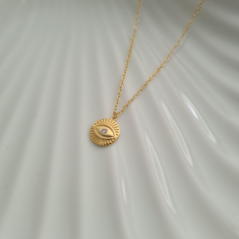 Shiny eye ketting goud/925 sterling zilver