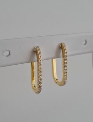 Rectangular maxi oorringetjes met zirkonia steentjes goud/925 sterling zilver