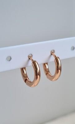Nice oorringetjes rosé goud stainless steel 10 mm