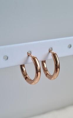 Nice oorringetjes rosé goud stainless steel 12 mm