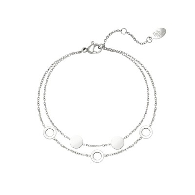 Open en closed coins dubbele armband zilver Stainless steel