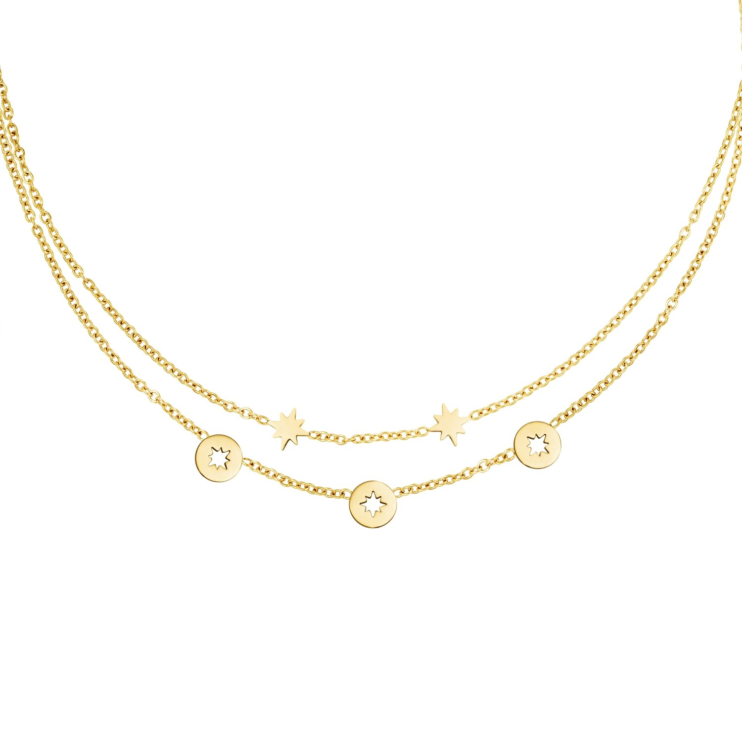 Open en closed star coin ketting goud Stainless steel