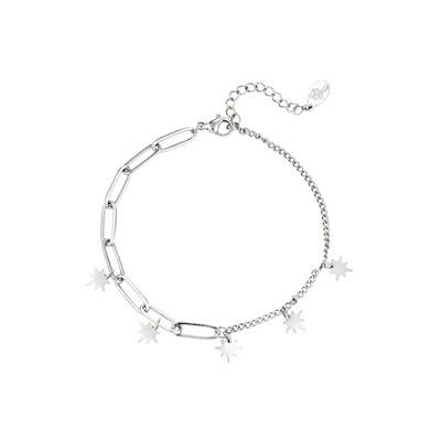 Bijzondere armband met sterren zilver Stainless steel
