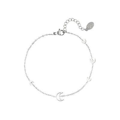 Open en closed maantjes armband zilver Stainless steel