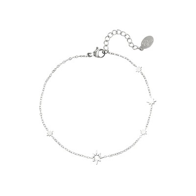 Open en closed perfect stars armband zilver Stainless steel
