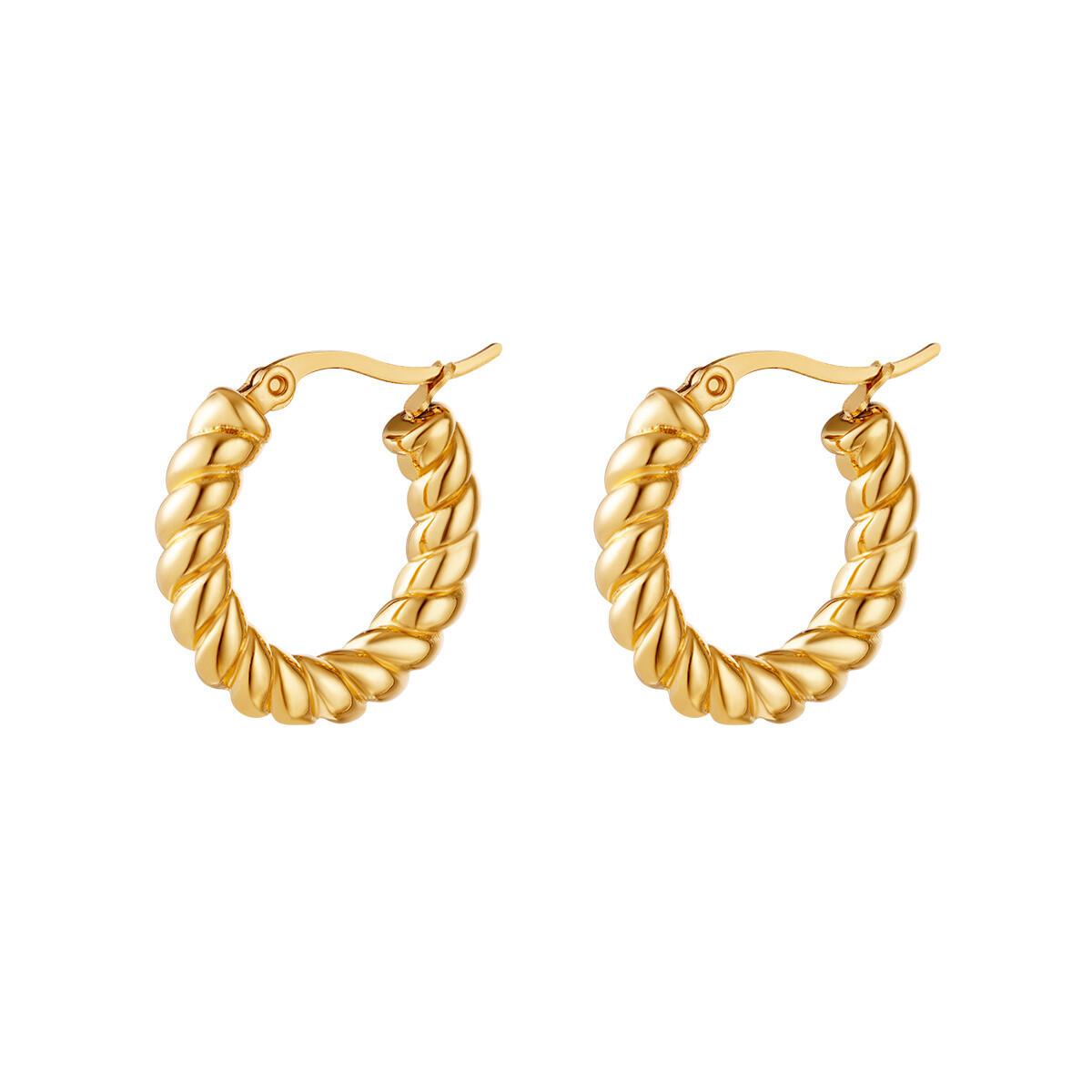Midi rope oorringetjes goud stainless steel 24 mm