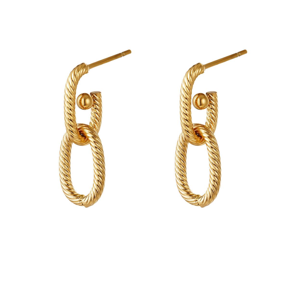 Double gedraaide oorknopjes goud stainless steel 25 mm