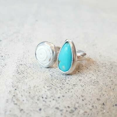Turquoise and Seashell Ring