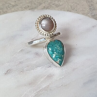 Turquoise and Moonstone Ring